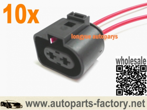 longyue 10pcs 2 Pin Plug Connector Loom Wiring Socket 1J0973752 For VW AUDI 1J0 973 752 8""