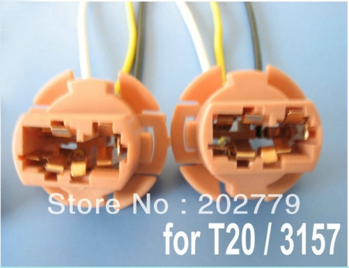 longyue 50pcs T20 3157 7443 Light Socket Headlight Wiring Harness Connector Adapter Bulb Wire 6""