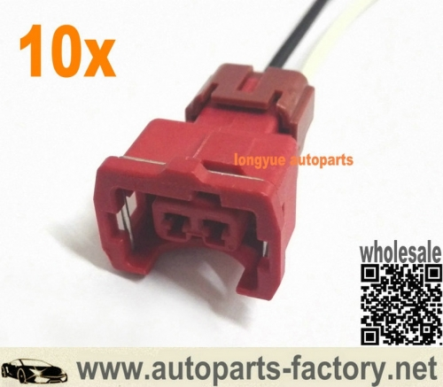 longyue 10pcs Nissan 300ZX Red 2-pin SR20DET Coolant Temp Connector/ AAC Valve Repair Harness 12""