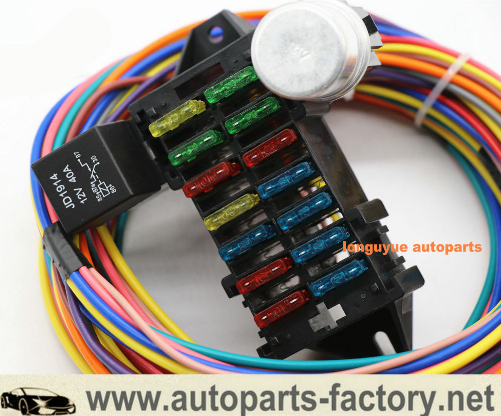 14 Circuit Hot Rod Universal Wiring Harness Muscle Car Street Rod Xl Wires