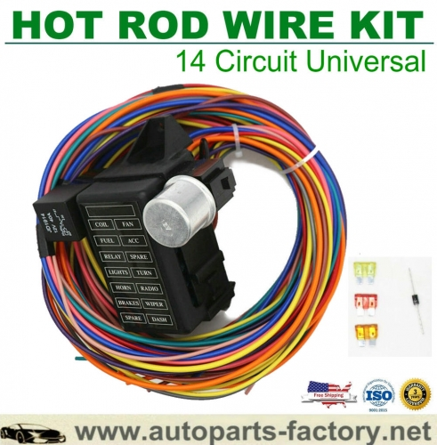 longyue 14 Circuit Fuse Universal Wire Harness Muscle Car Hot Rod Street Rat XL