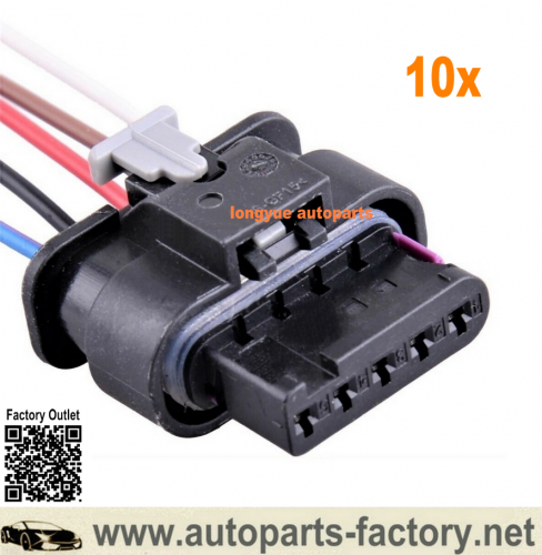 Longyue 10x Mass Air Flow Sensor MAF Harness 5 PIN Connector Wire 4F0973705 for VW Audi 6""